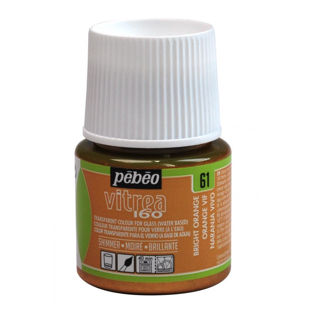Pebeo Vitrea 160, Glass Paint, 45 ml Bottle - Shimmer Bright Orange