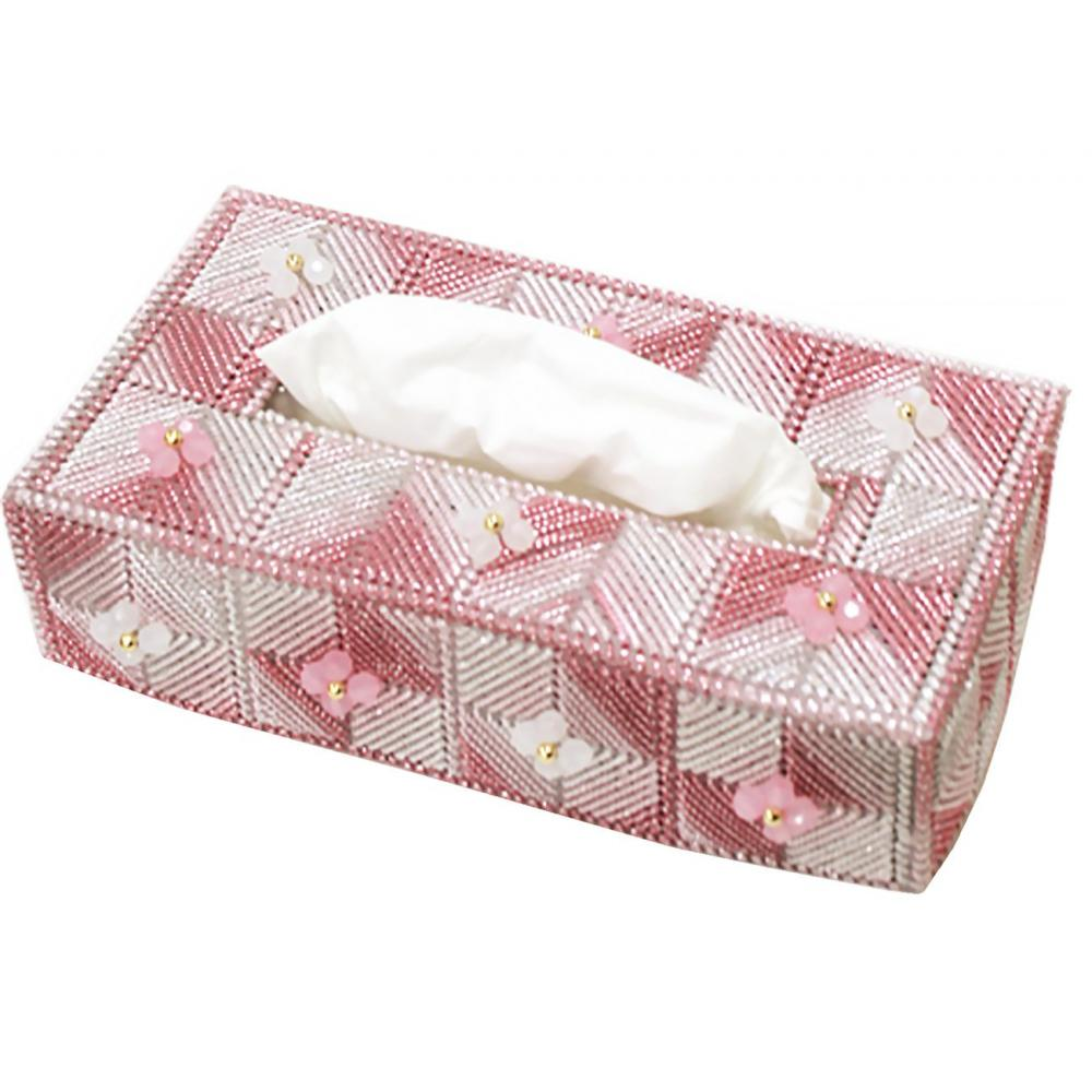 Panami Handicraft Kit Metallic Yarn Kirakira Flower Tissue Cover Ruby Pink TC-107