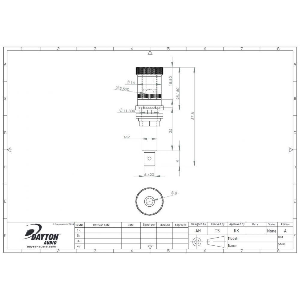 Dayton Audio BPP-NI premium binding post chrome Set of 4