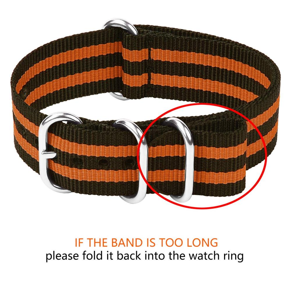 Watch band Belt 20mm Nylon, Fullmosa All 10 colors NATO Watch band 18mm 20mm 22mm 24mm Nylon replacement belt Exchange band Adjustable gray + Pumpkin orange 20mm
