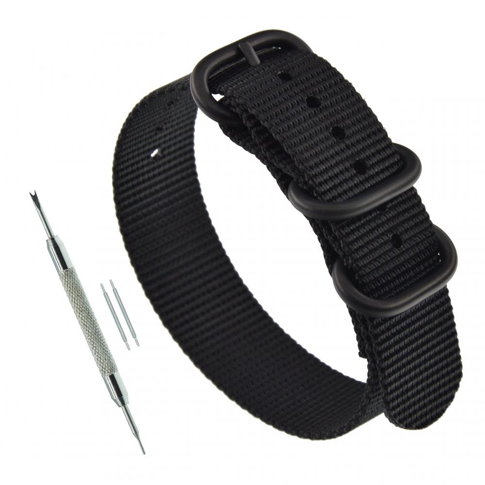 20mm Black Mens ZULU Strap 3 Ring NATO Style Watch Band Replacement PVD Buckle