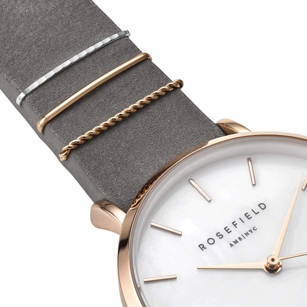 [Rosefield] ROSEFIELD Watch Ladies West Village 33mm White/Rose Gold/Elephant Gray Leather WEGR-W75