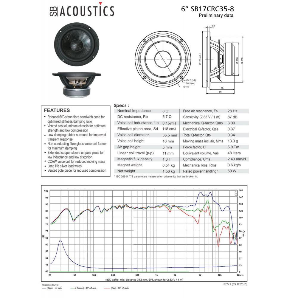 SB Acoustics SB17CRC35-8 17cm carbon fiber cone mid woofer 8Ω pair SB17CRC35-8