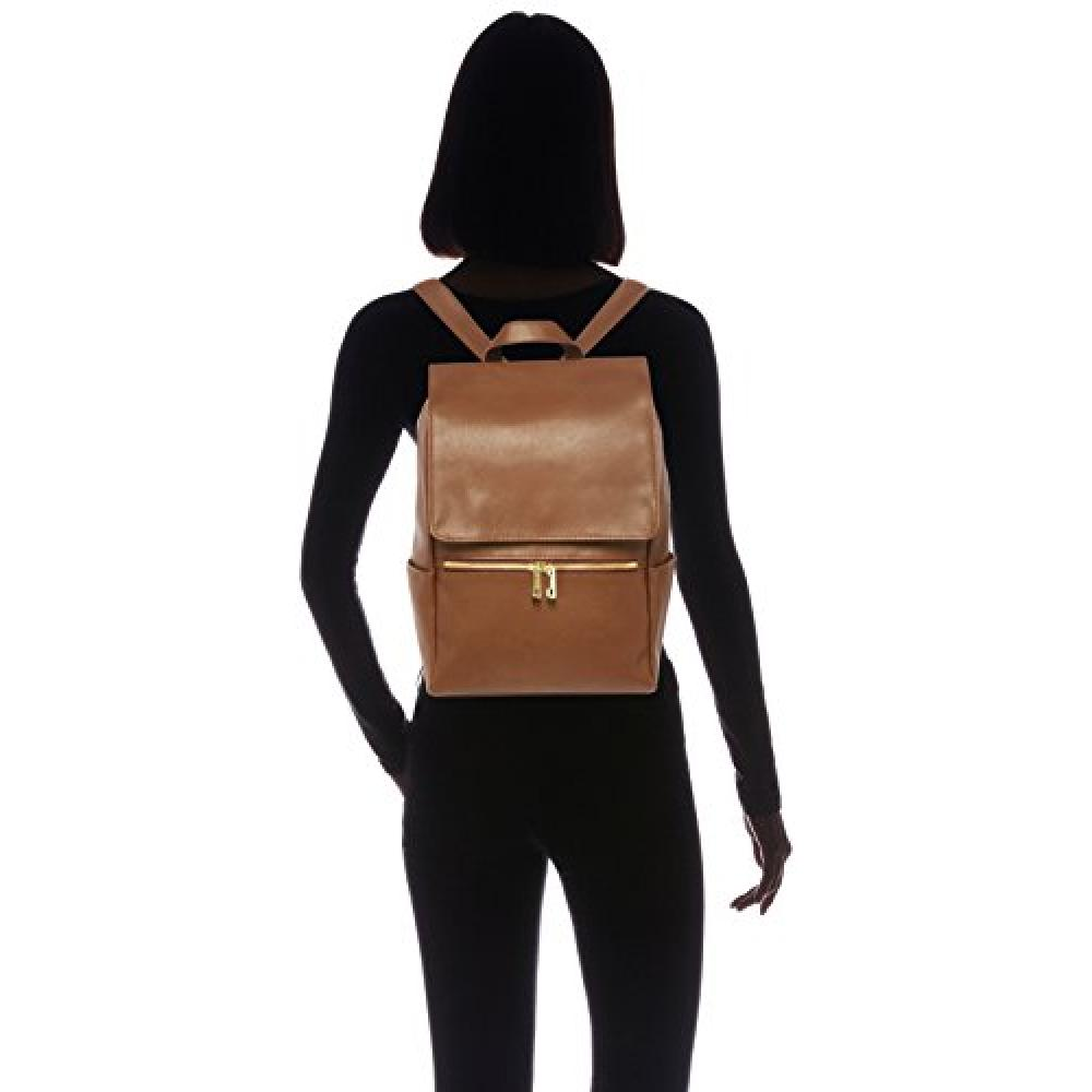 [Legato Lalgo] Neo Smooth Faux Leather W Fastener Pocket Backpack LH-C1321 Camel One Size