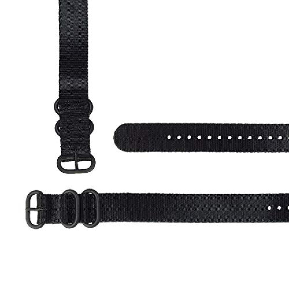 [time+] 22mm 3-ring NATO ZULU Seat Belt Nylon Military Watch Band All Black PVD