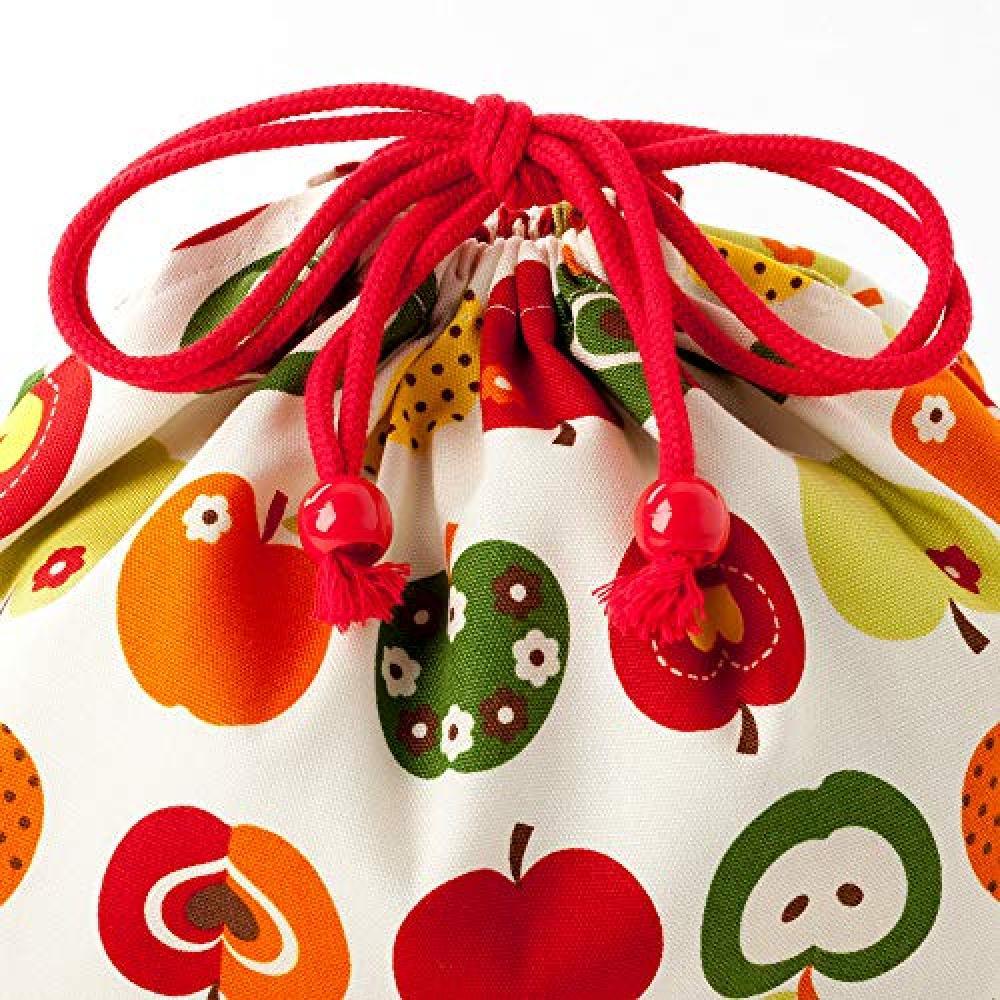 Drawstring pouch/medium lunch box Lunch bag Fashionable apple secret (ivory) N3461300