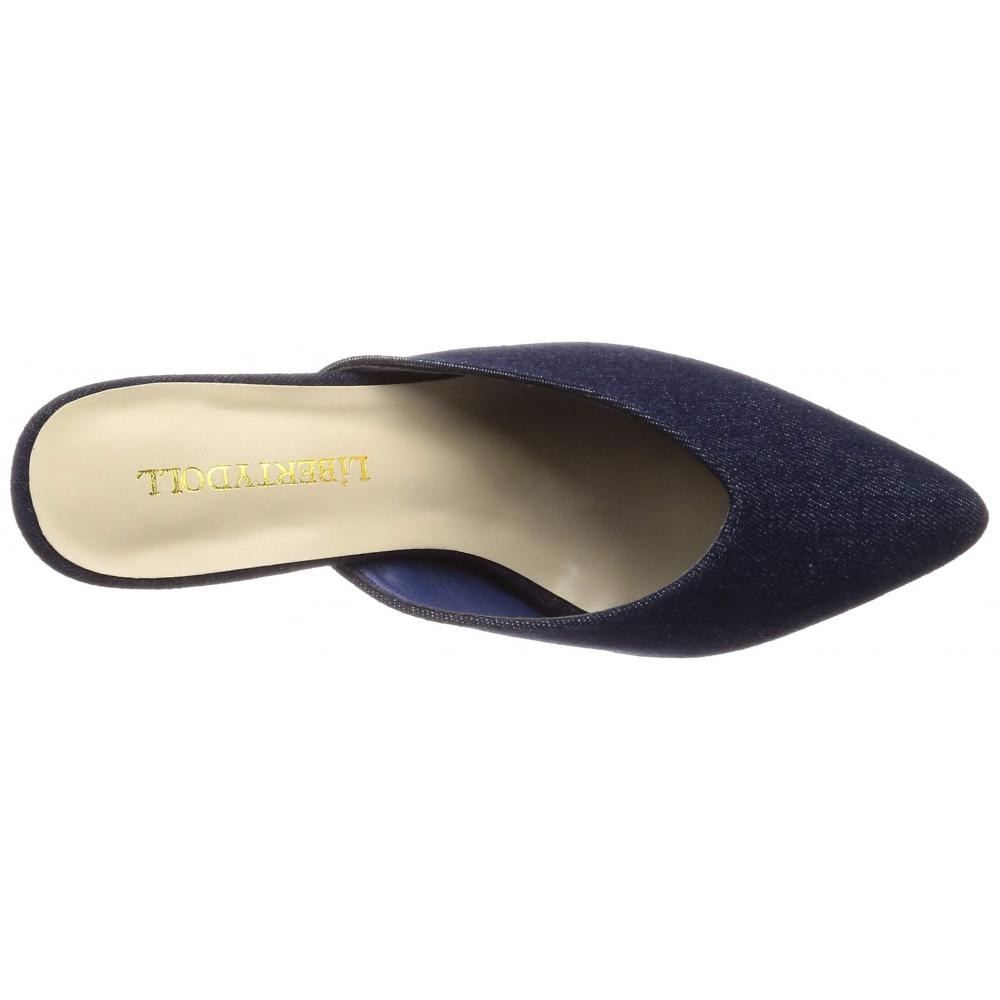 [Liberty Doll] V cut 7cm Chunky Heel Legs baboosh sandals / 5439 5439 Ladies Navy Denim S / M / L display L (24 cm)