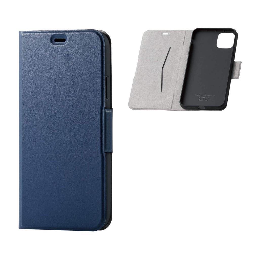 ELECOM iPhone 11 Pro Max Case ULTRA SLIM Soft Leather [Remarkably Thin and Light] Stand Function with Magnet Navy PM-A19DPLFUNV