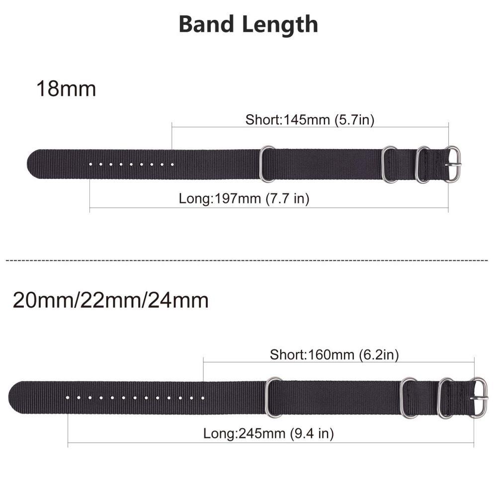 Watch band Belt 22mm Nylon, Fullmosa 10 colors Zulu Watch band 18mm 20mm 22mm 24mm Nylon replacement belt Exchange band Adjustable gray 22mm