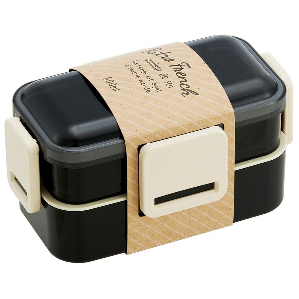 Skater dome type lid two steps lunch box 600 ml retro French black PFLW4