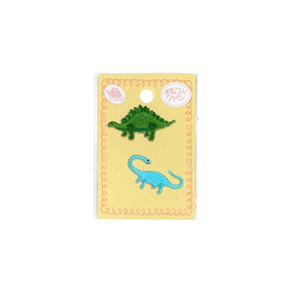 KIYOHARA favorite mini emblem dinosaur green width of about 3.6cm × vertical 2cm dinosaur light blue width of about 3.1cm × vertical 1.7cm 2 pieces MOW636