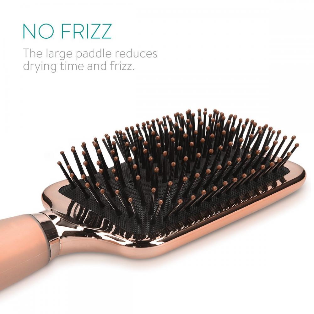 Navaris Hair Brush Smooth Massage Gel Grip-Paddle Brush Hair Short Hair Long Hair-Brush Pink Gold
