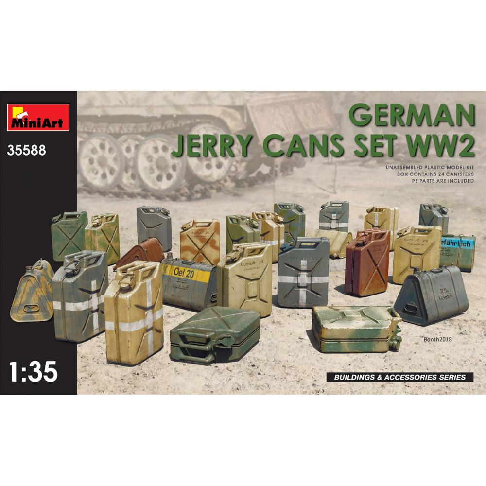 Mini Art 1/35 World War II German-made fuel carrying cans set plastic model MA35588