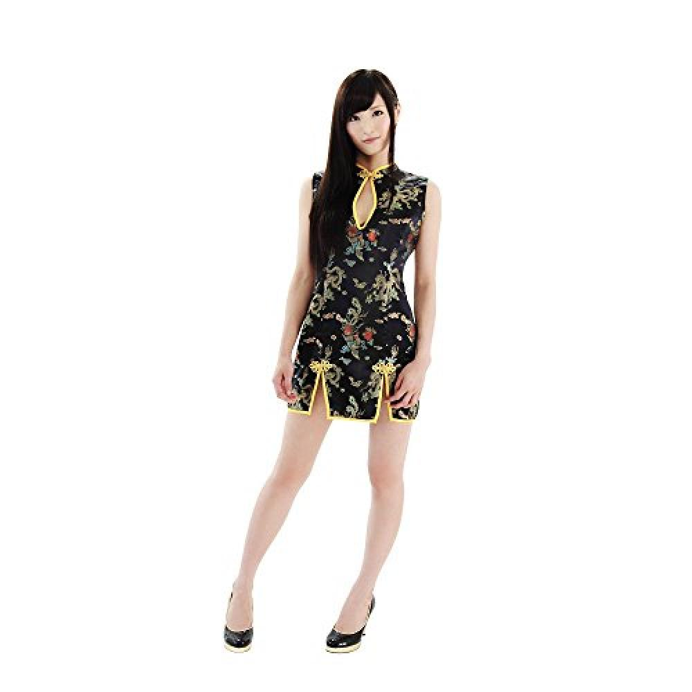 [Be ★ With] double slit China / bold slit sexy costume black Ladies M size