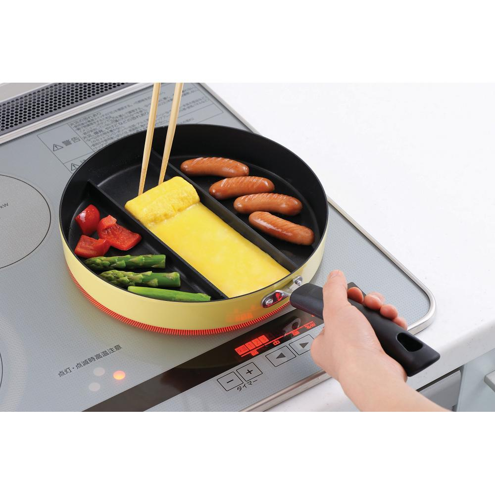 Ernest Frying Pan Lunch Triple Grill Center Egg Triple Pan IH Compatible A-76728