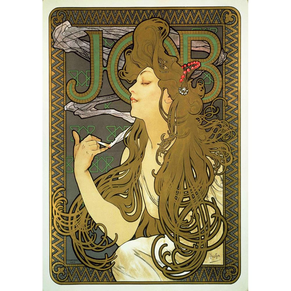 """Interior painting poster Mucha """"job"""" A3 size"""