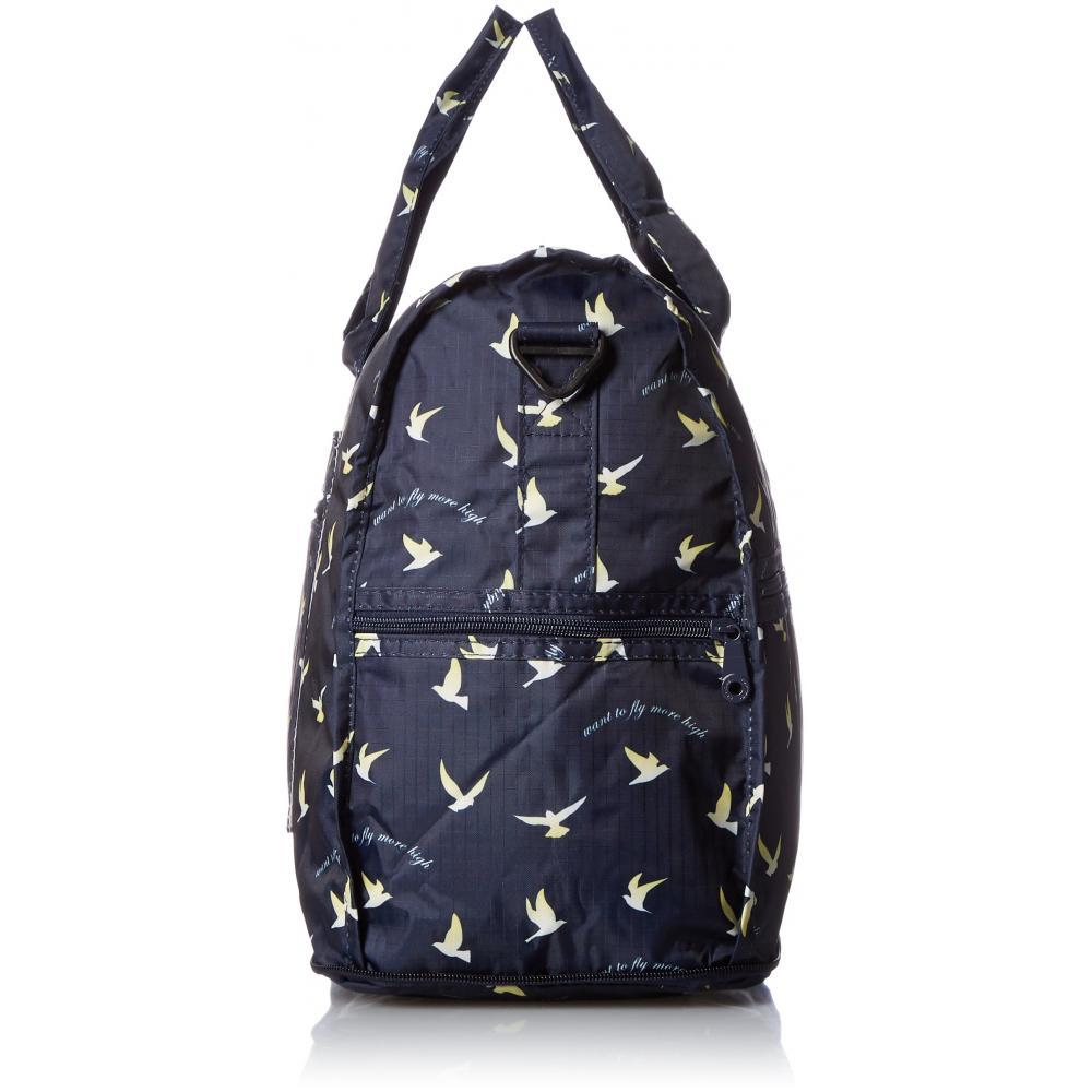 [Hapitas] Folding Boston Bag Medium Medium Carry-on Rich Pattern 23L 30 cm Bird Navy
