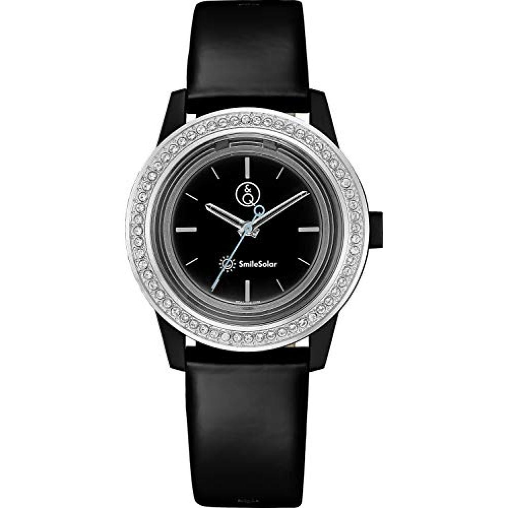 [Citizen Q&Q] Wrist Watch Q&Q Smile Solar Analog Swarovski 60 Stones 10 ATM Water Resistant Diameter 36mm RP37-002 Ladies Black