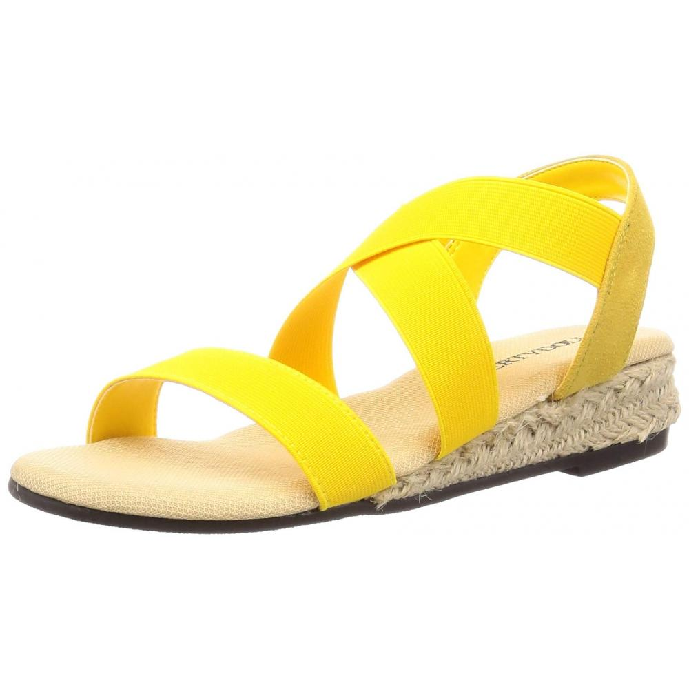[Liberty Doll] fluffy foam cushion and bend wedge heel rubber fit legs sandals / 5588 5588 Ladies mustard 23 cm
