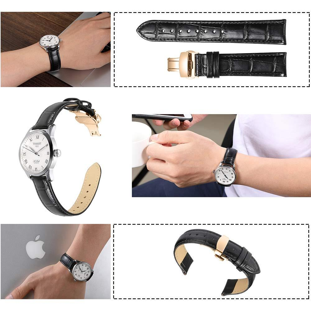 iStrap Watch Belt 12 13 14 15 16 17 18 19 20 21 22 24mm Water Resistant Watch Band Water Resistant Watch Belt Push D Buckle Crocodile Pattern Black Brown Rose Gold Double Lock Buckle