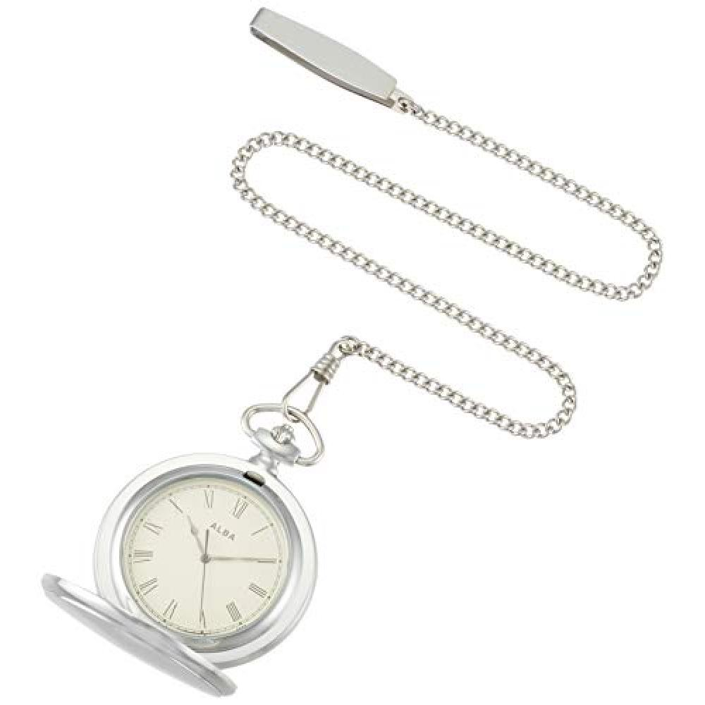 [Seiko Watch] Pocket Watch Alba Pocket Watch Silver with lid Roman numerals AQGK448