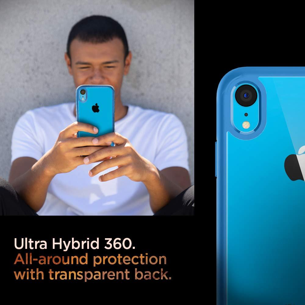 [Spigen] iPhone XR Case for 6.1 inches [New color] 360 degree protection Full protection Rear clear Shock resistance US military MIL standard acquisition Qi charging Wireless charging Ultra hybrid 360 064CS25349 (blue)