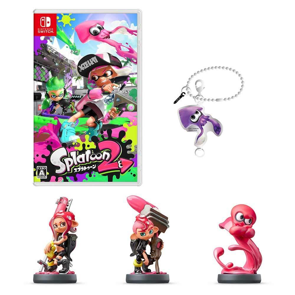 Splatoon 2-Switch + amiibo octopus girl + amiibo octopus boy + amiibo octopus (splatoon series) (original metal charm (squid) included)