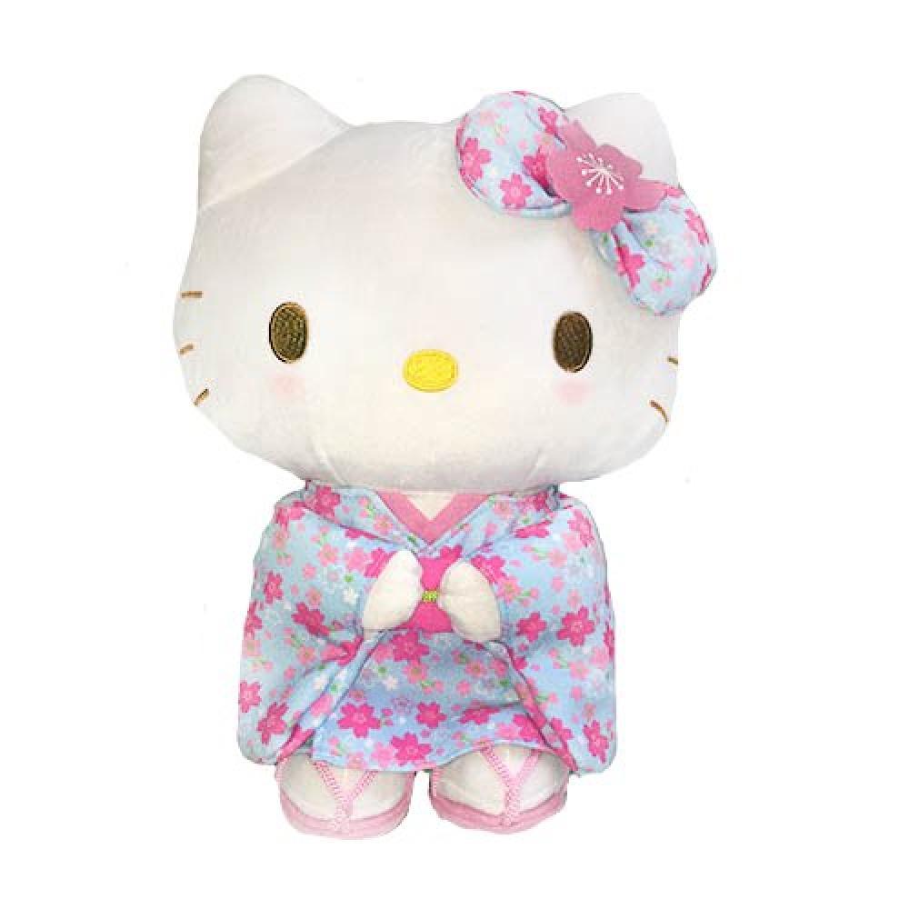 Sanrio Hello Kitty Sakura kimono series light blue stuffed toy S size