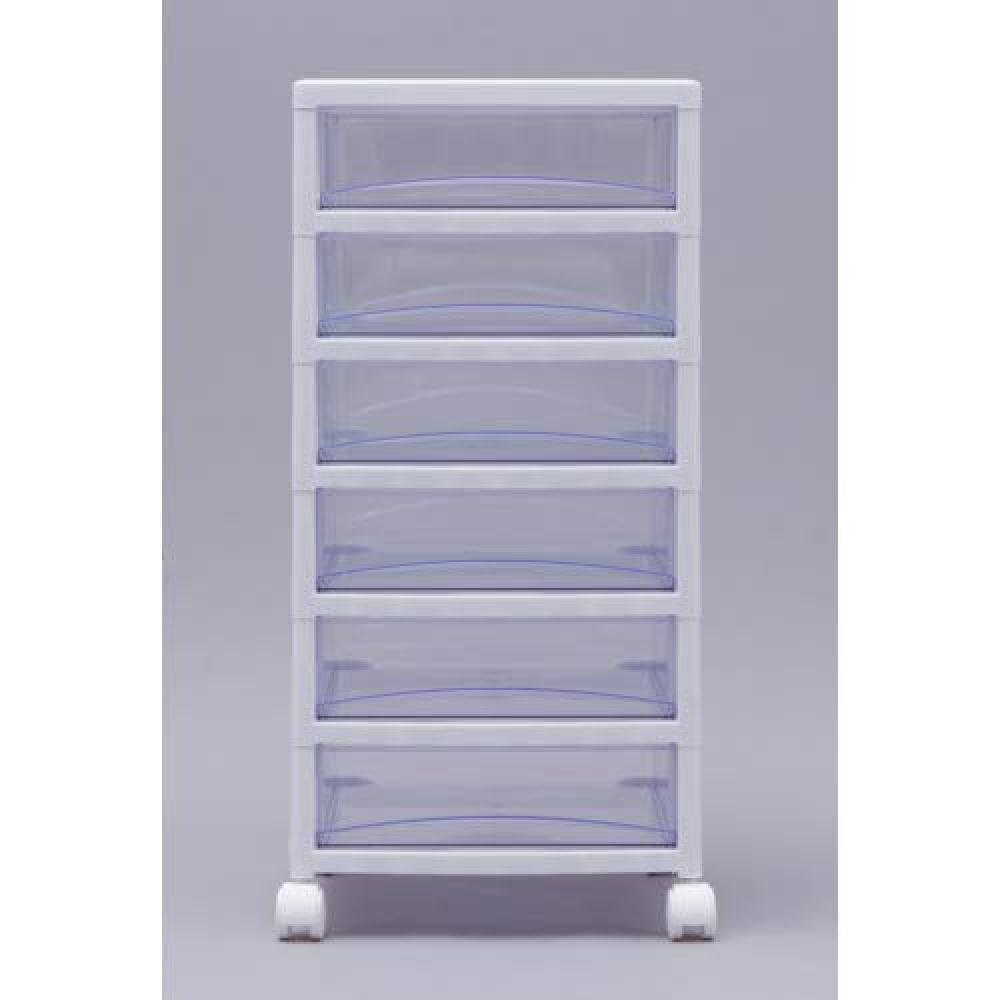 Iris chest super clear 6-stage width 32 × depth 39 × height 68cm White / Clear Blue white plastic SCE-600