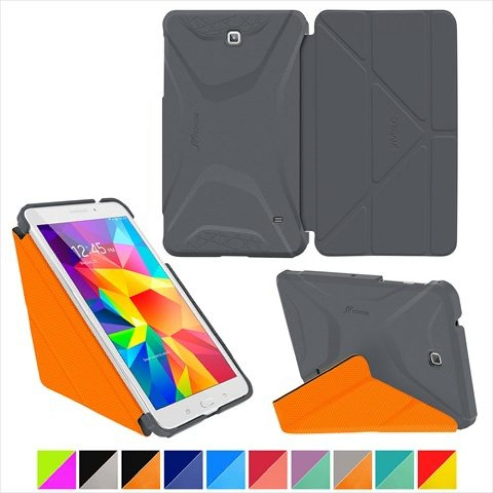 roocase Loucase Samsung Galaxy Tab 4 7.0 Multi-angle origami type with stand function Shockproof smart 3D cover case Space Gray / Loucase Orange RC-GALX7-TAB4-OG-SS-SG/OR