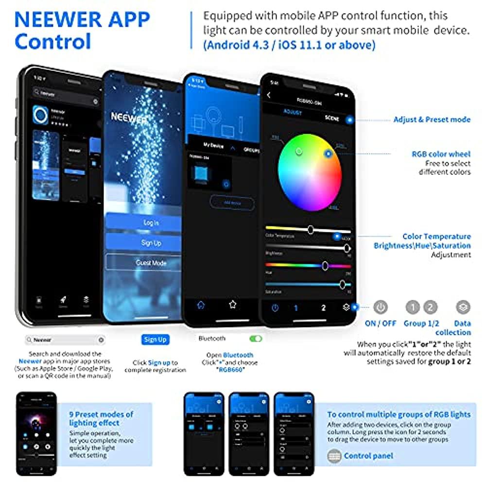 Neewer 660 RGB LED light APP-controlled 660 SMD LEDs CRI95 / 3200K-5600K / Brightness 0-100% / 0-360 adjustable color / 9 relevant scene LCD screen / U bracket / barn / metal shell with shooting