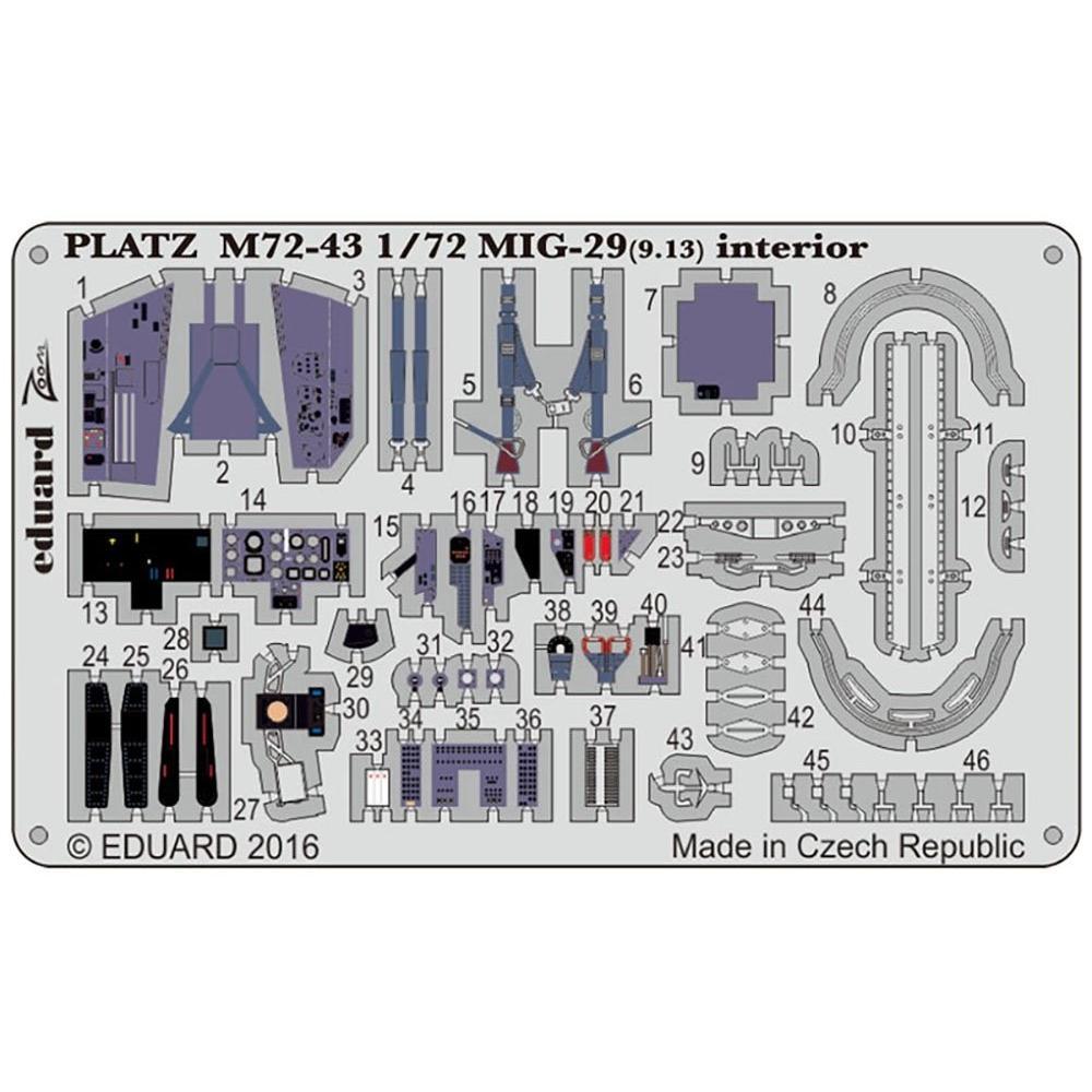 Platz 1/72 MiG-29 (9.13) Fulcrum parts for C interior etching parts plastic model M72-43