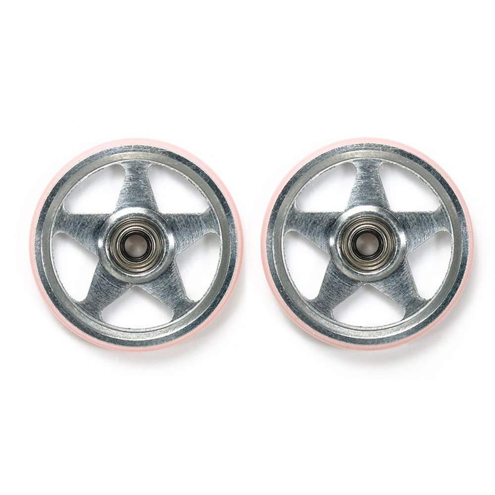 Tamiya Mini four wheel drive Special Products 19mm Puraringu with aluminum bearing rollers 5-spoke type pink 95438