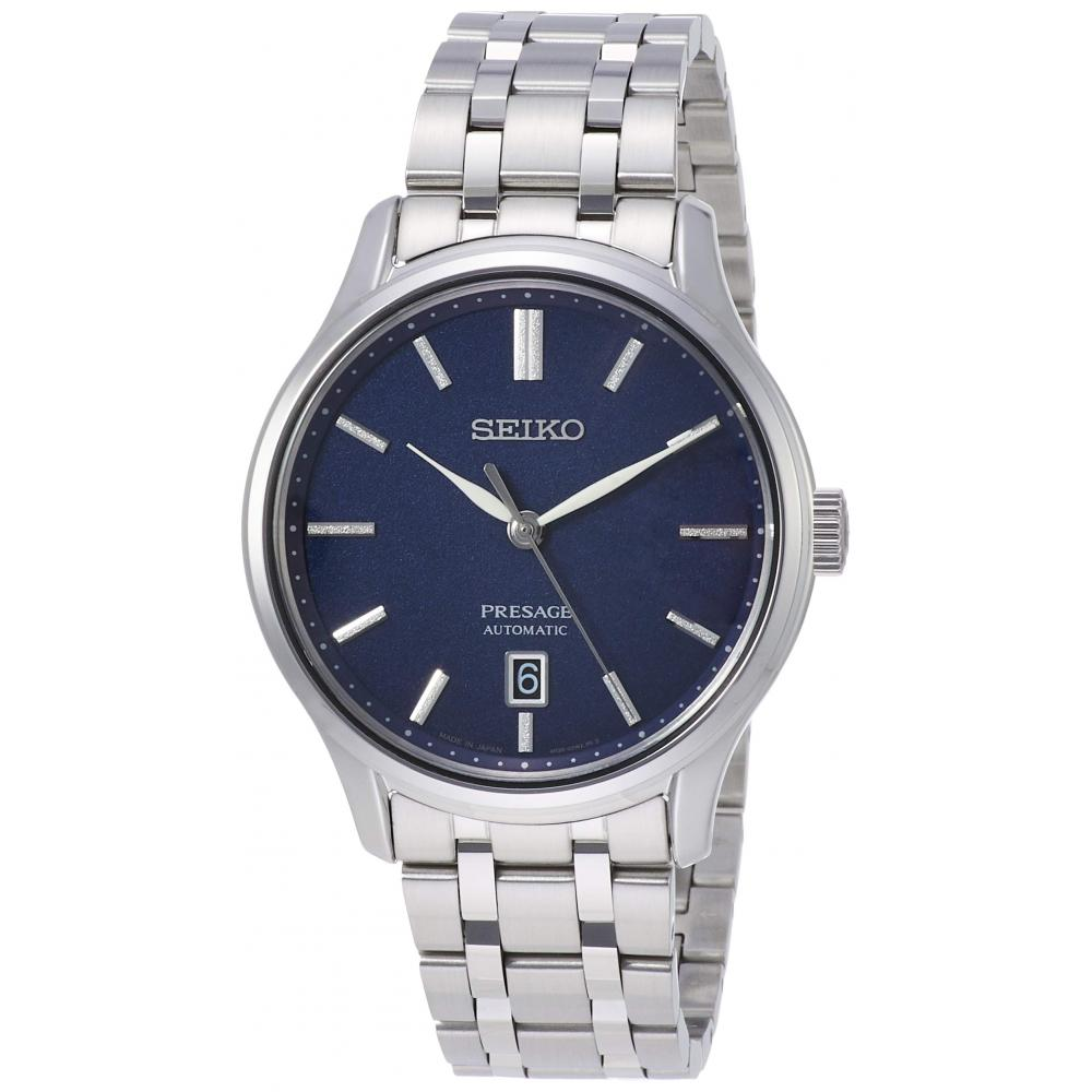 [SEIKO WATCH] Wristwatch Plageju Mechanical Navy Dial Dual Curve Sapphire Glass See-through Back SARY141 Men's Silver