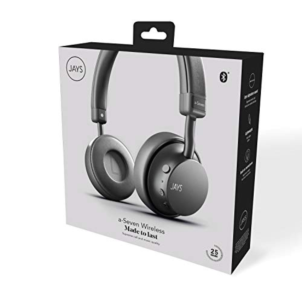 JAYS a-Seven Wireless Wireless Headphones (Bluetooth 4.1/Continuous Playback 25 hours/40mm Driver/Aluminum Housing/Gray) JS-ASEW-GY2