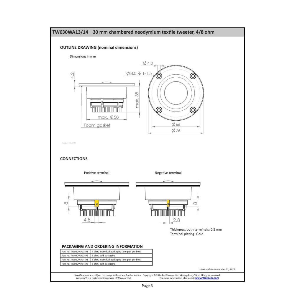Wavecor Soft Dome Tweeter Neodymium 30mm 4Ω pair TW030WA13