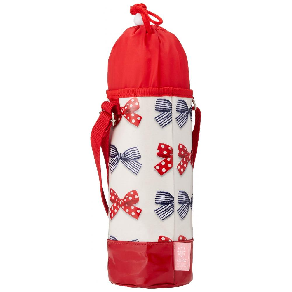 Water bottle cover large shoulder polka dot and stripe French ribbon (ivory) N7308510