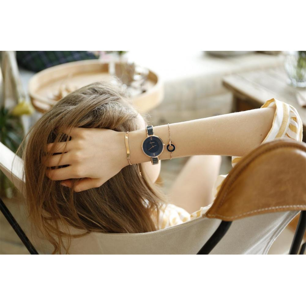 MAMONA Ladies Watch & Bracelet Gift Set Ladies Stainless Steel/Ceramic Watch Blue L3887BLGT