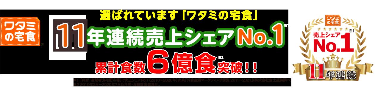 11年連続売上シェアNo.1。累計食数6億食突破!