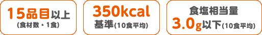 15品目以上(食材数・1食)・350kcal基準(10食平均)・食塩相当量3.0g以下(10食平均)