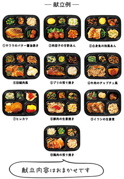 いつでも五菜 【お試し割】10食セット 献立例