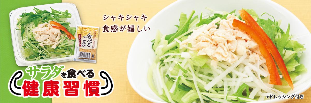 シャキシャキ食感が嬉しい「サラダを食べる健康習慣」いつものお弁当・お惣菜と組み合わせてご注文いただくと、毎日の食事の幅が広がります。
