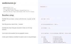 underscore.jsのannotated source code。コメントアウトされた文章が左カラムに。ソースが右カラムに表示されている。