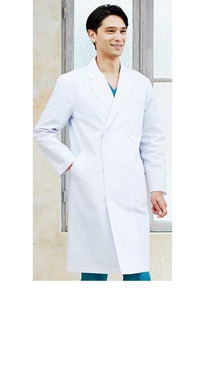 メンズ診察衣ダブル/白衣販売。刺繍、プリント加工対応します。研修医、医療チームウェアに人気
