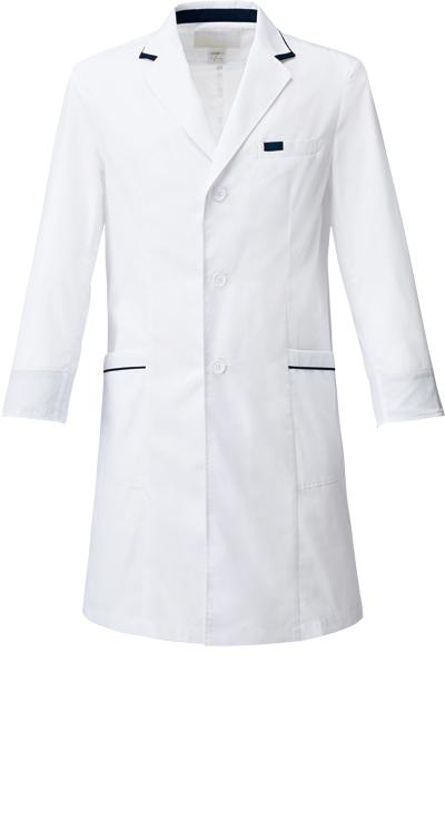 メンズシングルコート/白衣販売。刺繍、プリント加工対応します。研修医、医療チームウェアに人気