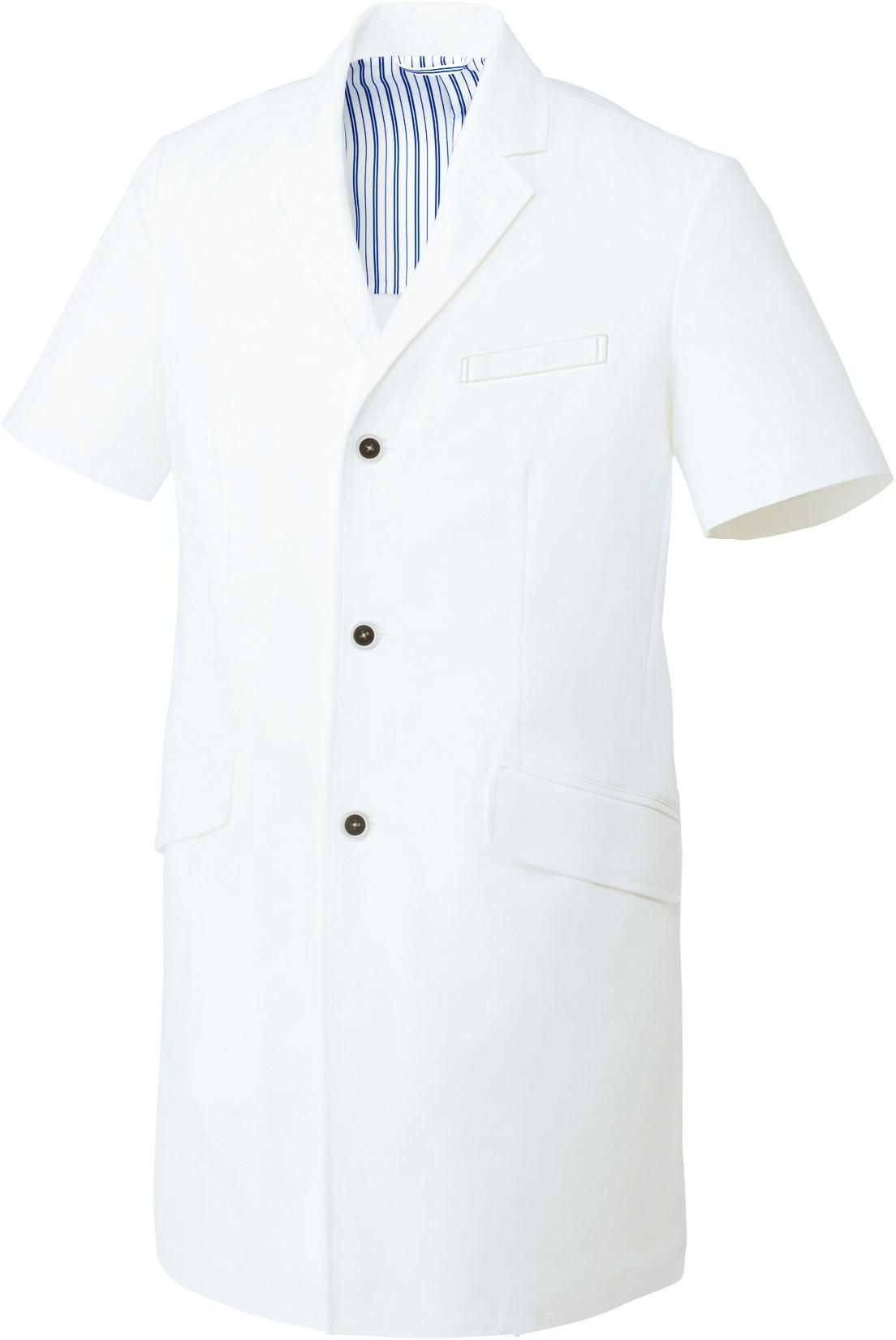 ドクターコート/白衣(半袖)[男]販売。刺繍、プリント加工対応します。研修医、医療チームウェアに人気