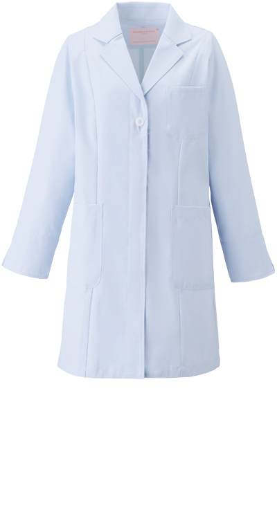 女子シングルコート長袖/白衣販売。刺繍、プリント加工対応します。研修医、医療チームウェアに人気