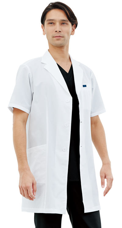 メンズシングルコート半袖販売。刺繍、プリント加工対応します。研修医、医療チームウェアに人気