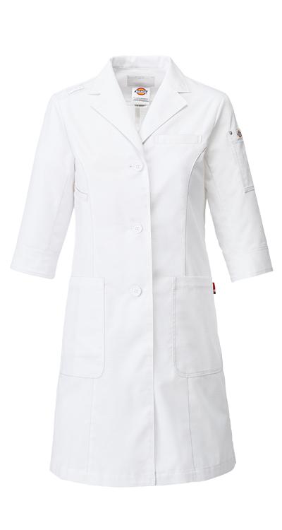 ディッキーズレディースシングルコート販売。刺繍、プリント加工対応します。研修医、医療チームウェアに人気