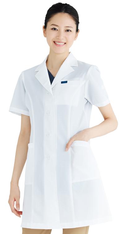 レディースシングルコート半袖販売。刺繍、プリント加工対応します。研修医、医療チームウェアに人気